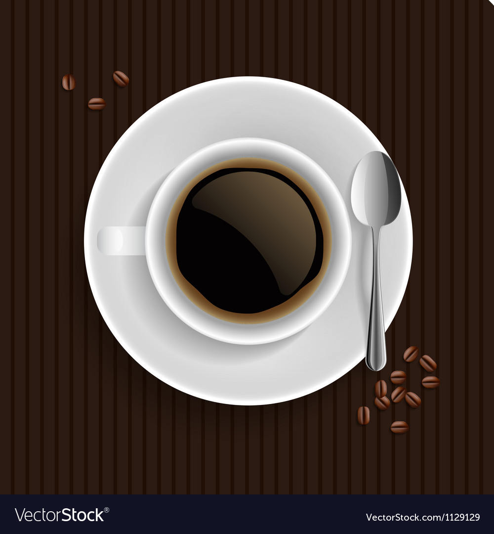 Cup of black coffee with coffee grain and spoon vector | Price: 1 Credit (USD $1)