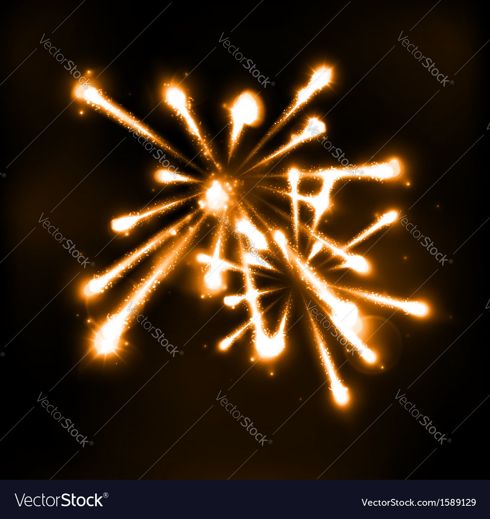 Fireworks in night sky vector | Price: 1 Credit (USD $1)