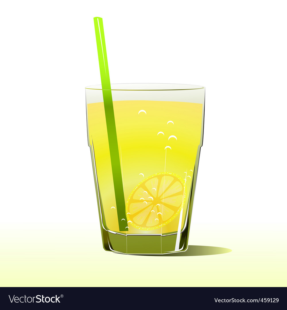Glass of lemonade with straw vector | Price: 1 Credit (USD $1)