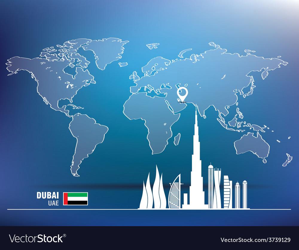 Map pin with dubai skyline vector | Price: 1 Credit (USD $1)