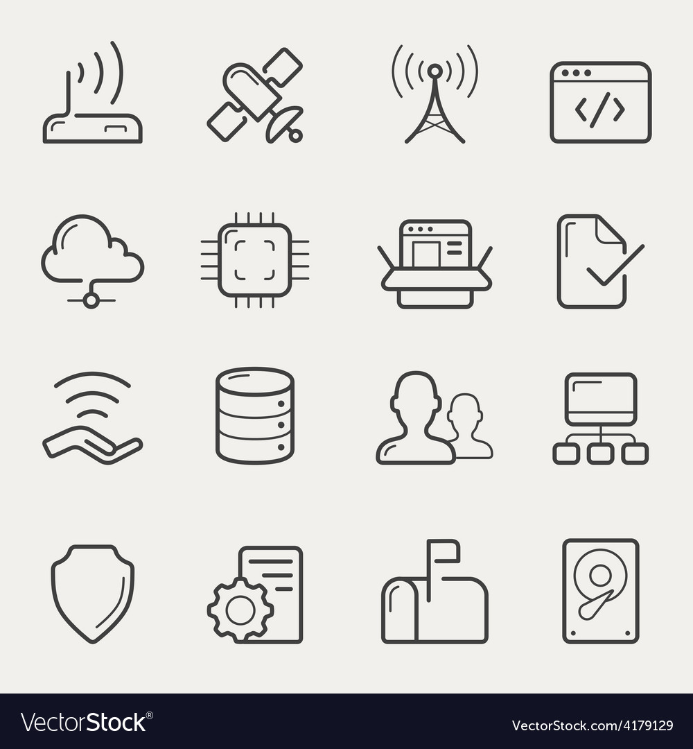 Network and servers line icons vector | Price: 1 Credit (USD $1)