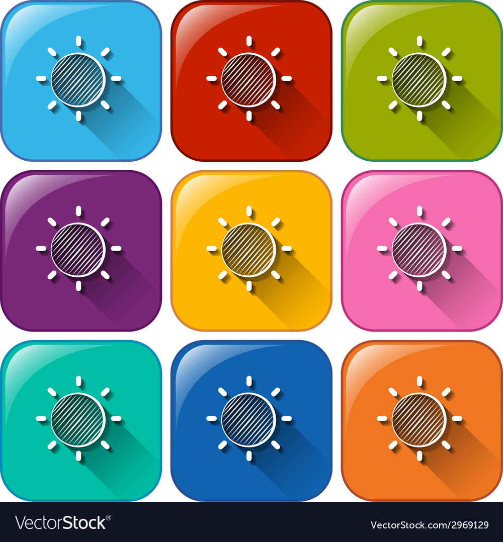Rounded buttons with a sun vector | Price: 1 Credit (USD $1)
