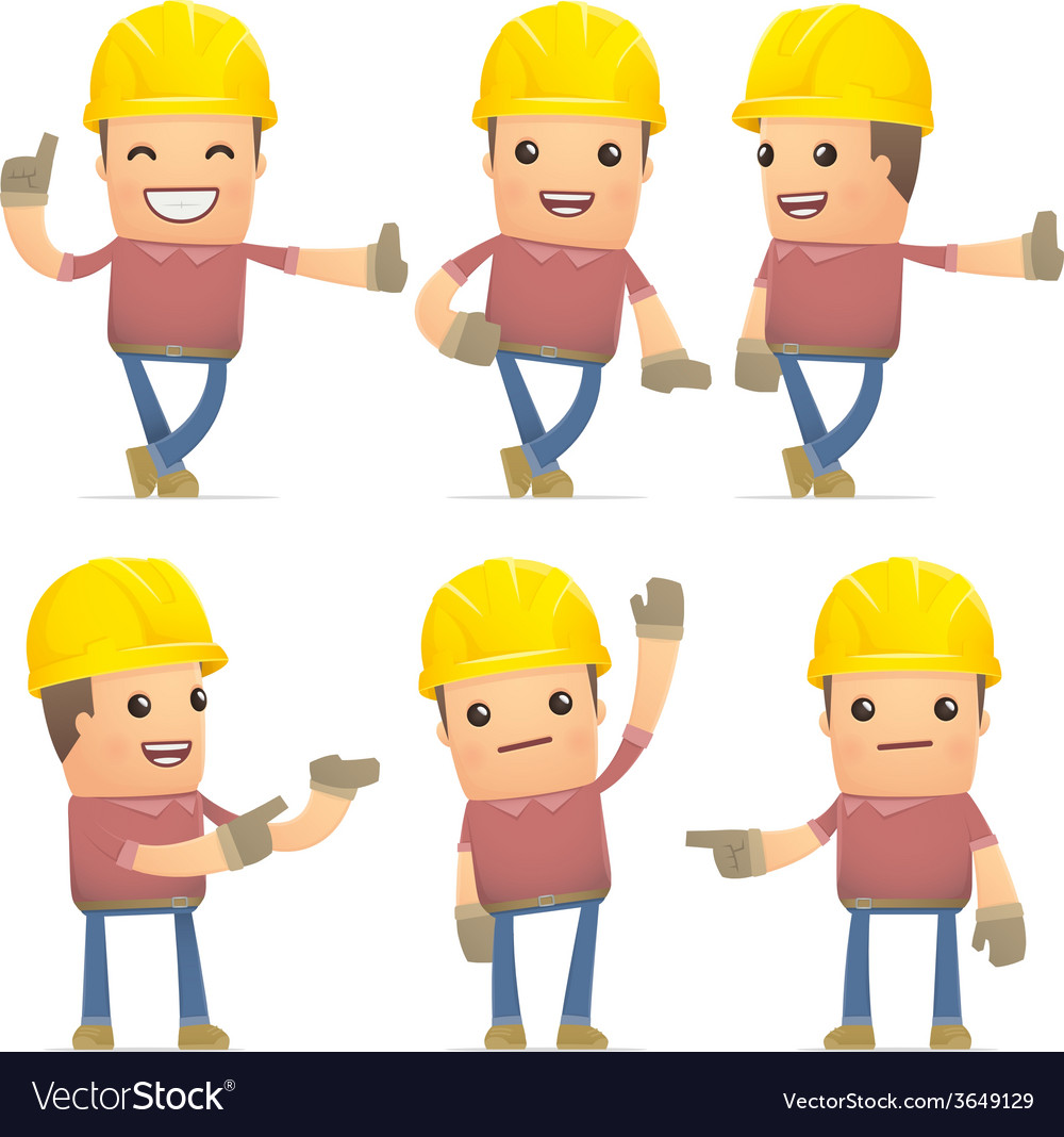 Set of builder character in different poses vector   Price: 3 Credit (USD $3)