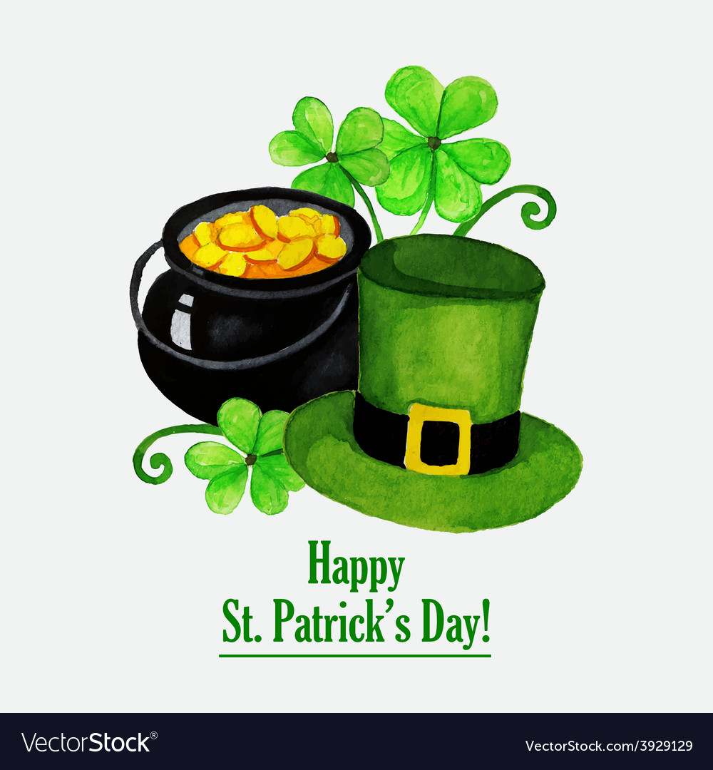 Stpatrick day greeting card with hat coins and vector