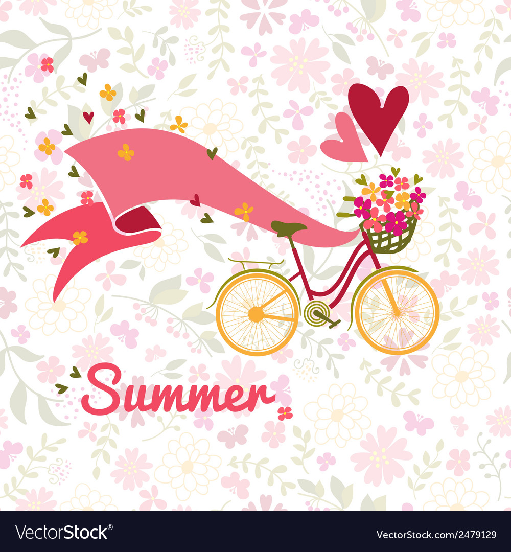 Summer bicycle and flowers background vector | Price: 1 Credit (USD $1)