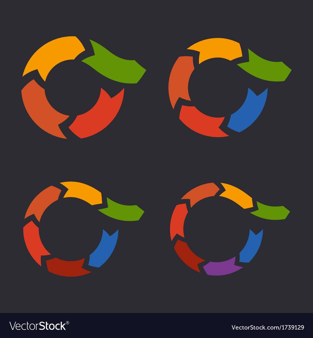 Unusual circle arrows set vector | Price: 1 Credit (USD $1)