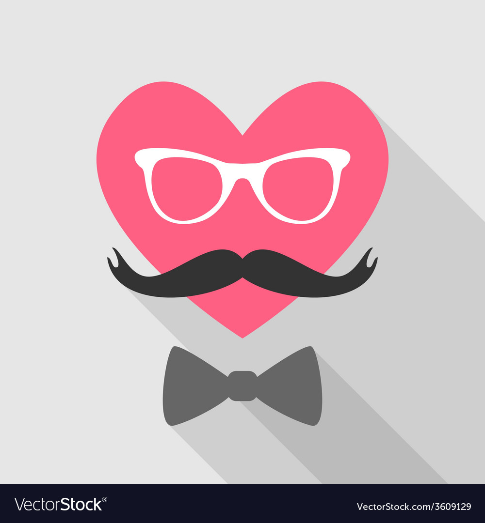 Valentines day card - with heart face mustache vector | Price: 1 Credit (USD $1)