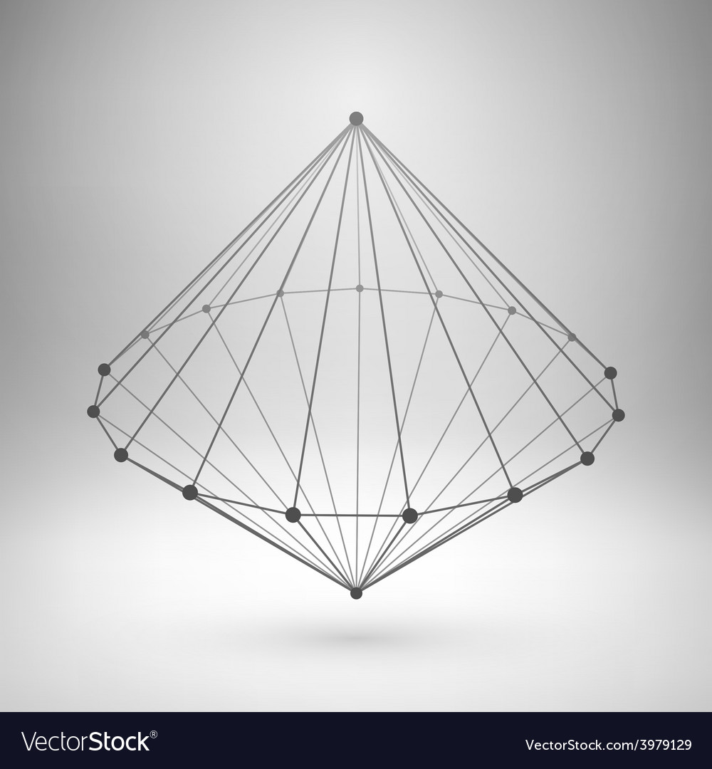 Wireframe mesh polygonal cone vector | Price: 1 Credit (USD $1)
