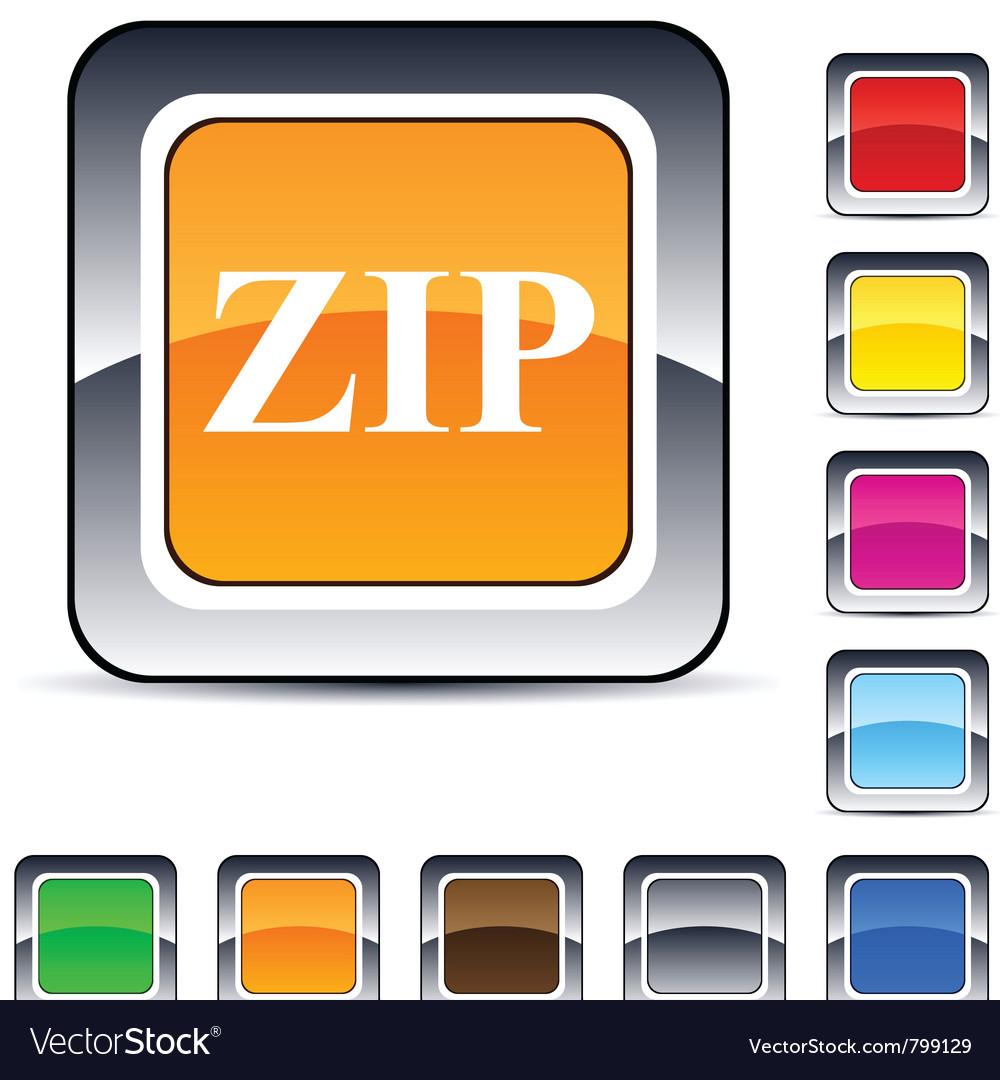 Zip square button vector | Price: 1 Credit (USD $1)