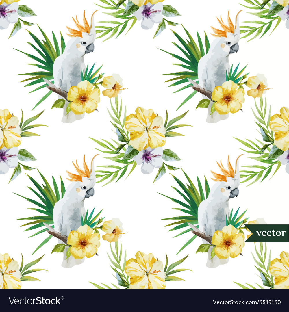 10 white parrot hibiscus tropical palm trees vector | Price: 1 Credit (USD $1)
