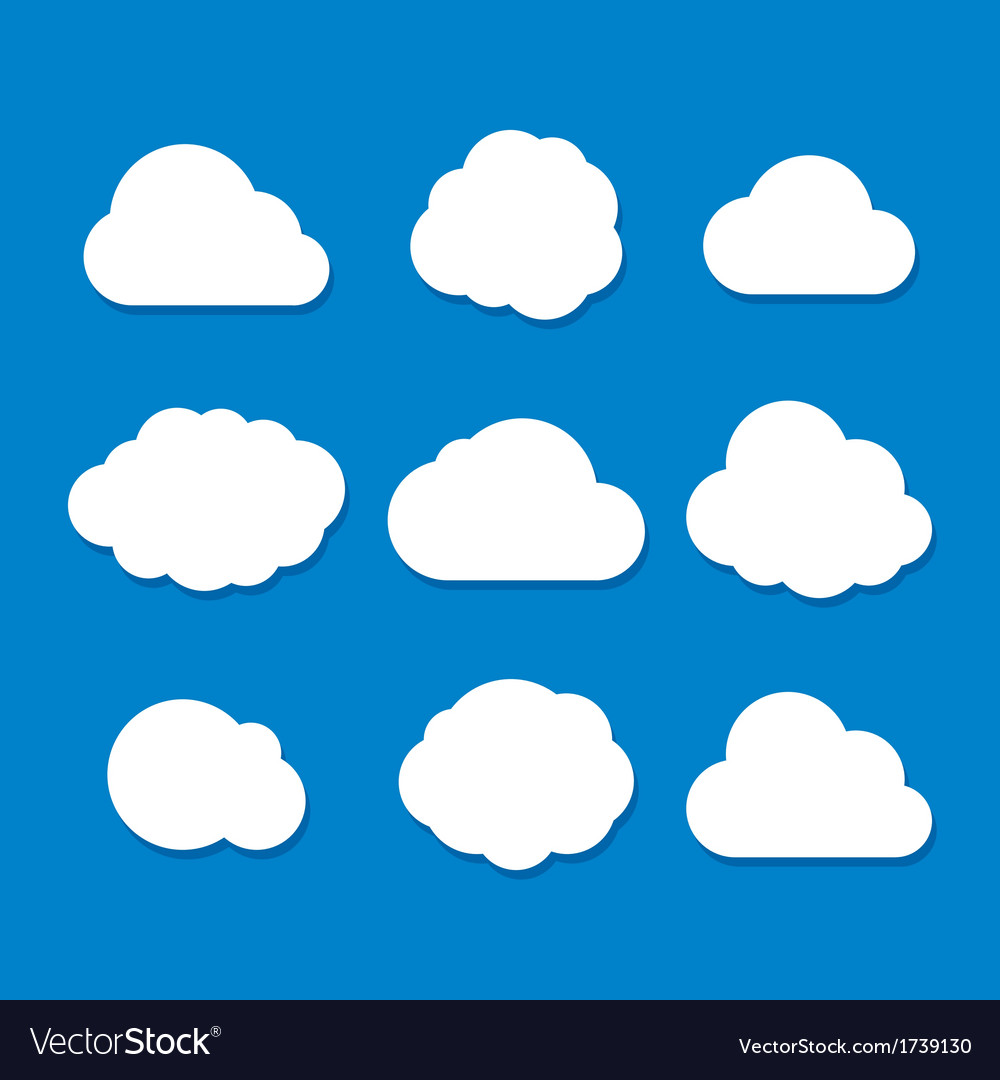 Cartoon style cloud set vector | Price: 1 Credit (USD $1)