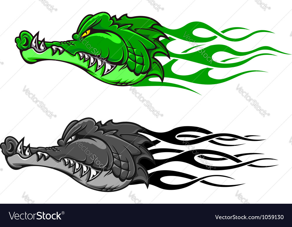 Crocodile tattoo with tribal flames vector | Price: 1 Credit (USD $1)