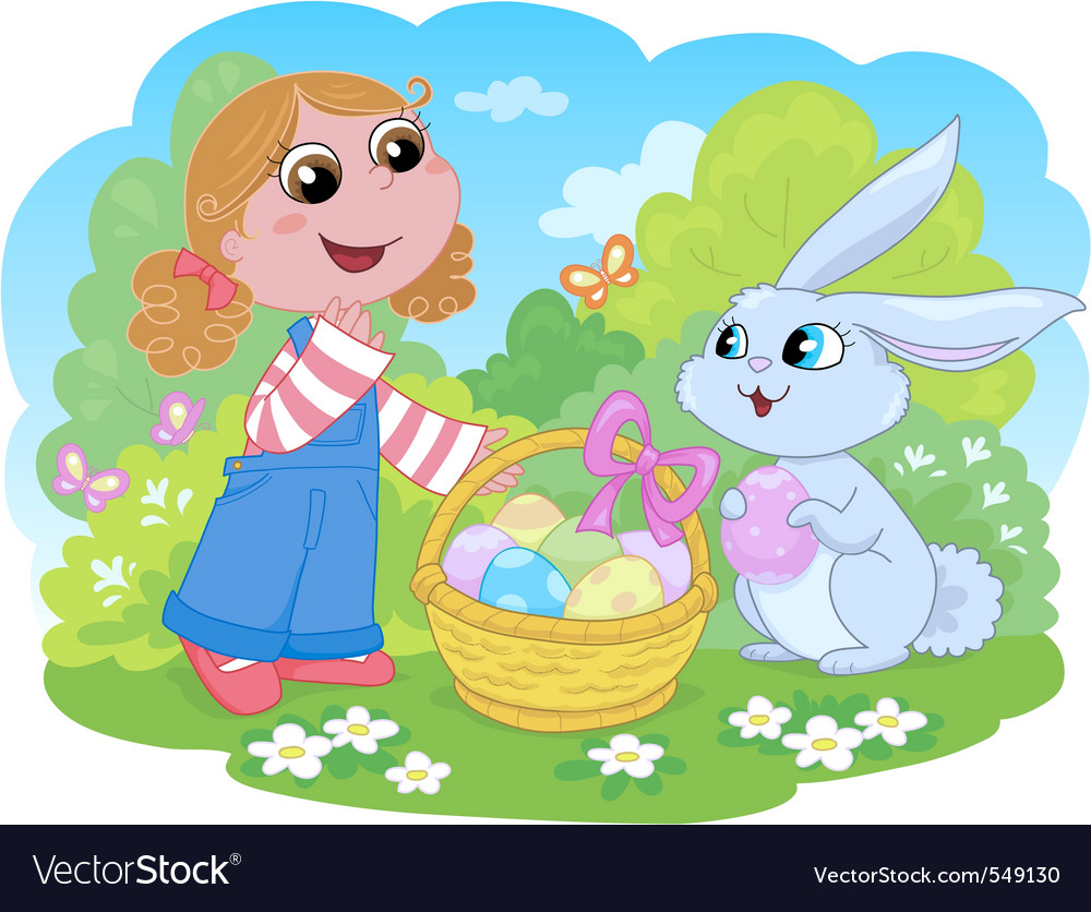 Girl with easter bunny vector | Price: 1 Credit (USD $1)