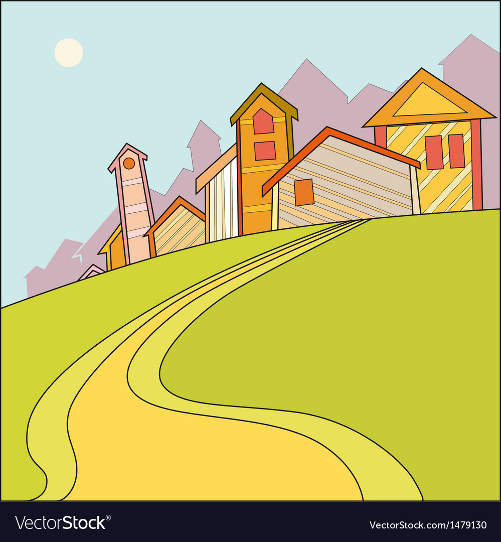 Landscape with houses vector | Price: 1 Credit (USD $1)