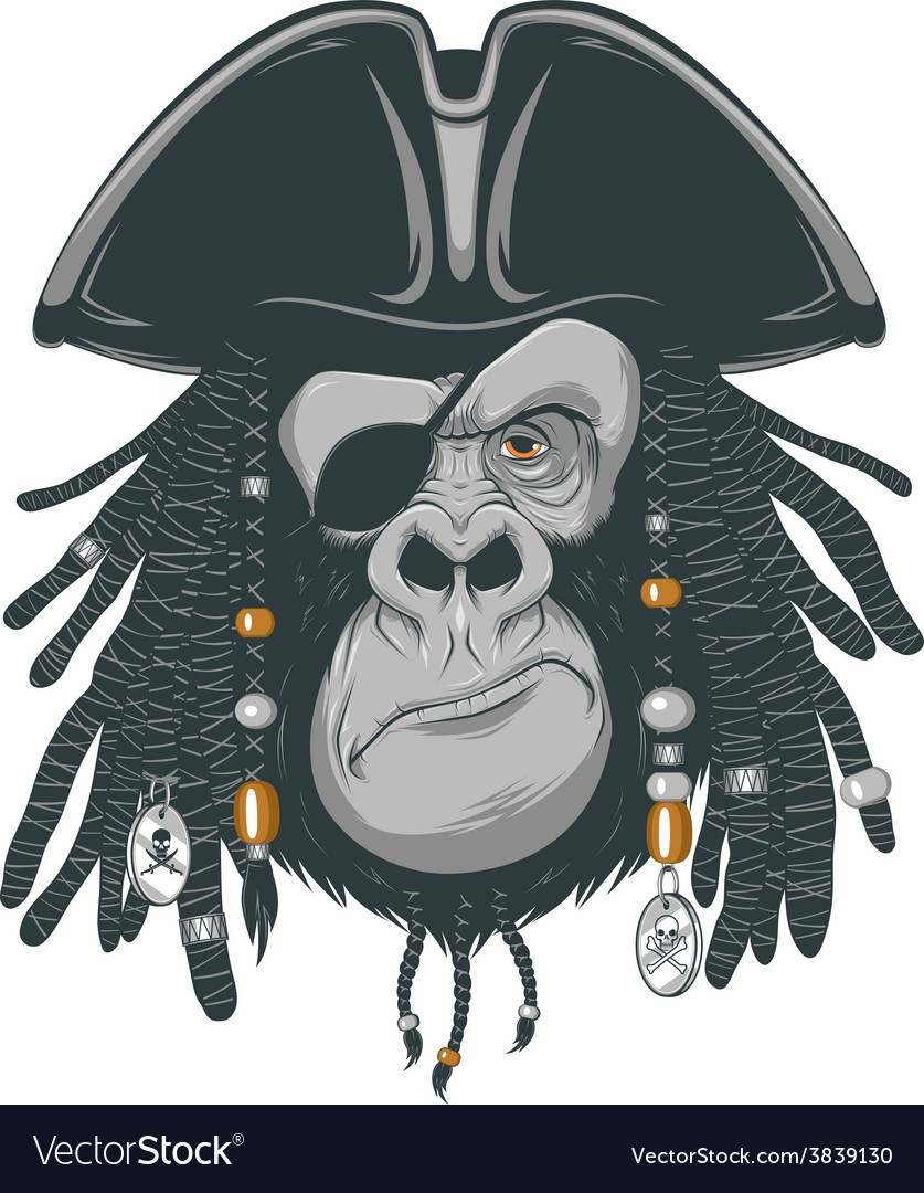 Monkey harsh pirate vector | Price: 3 Credit (USD $3)