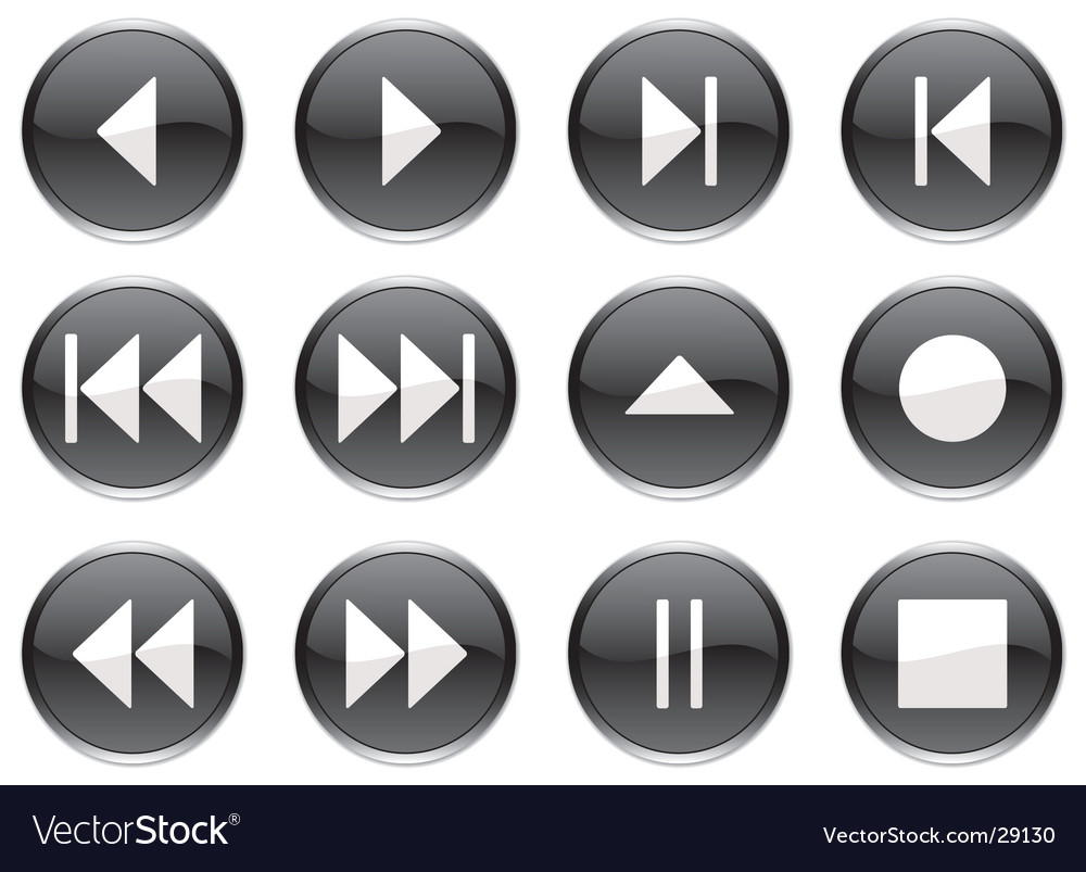 Multimedia navigation buttons vector | Price: 1 Credit (USD $1)