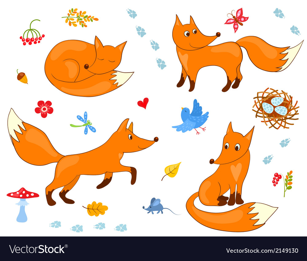 Set of cute foxes vector