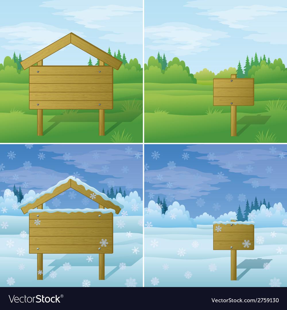 Wood sign on landscape set vector | Price: 1 Credit (USD $1)