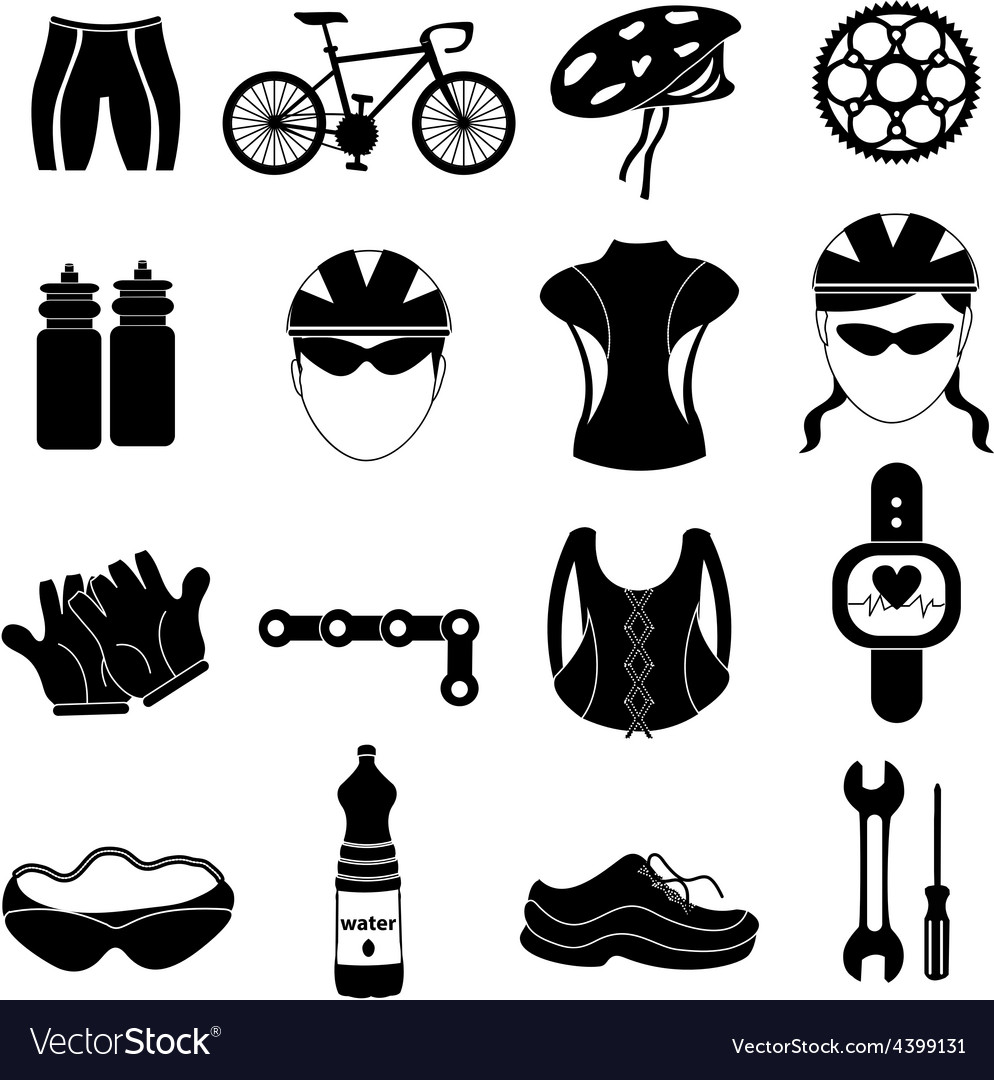 Bicycle rider icons set vector | Price: 1 Credit (USD $1)
