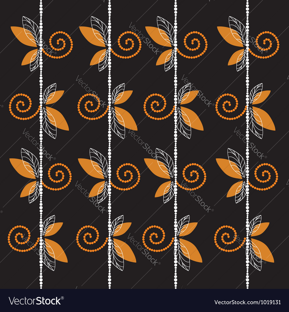 Black pattern with leaf and curl background vector | Price: 1 Credit (USD $1)