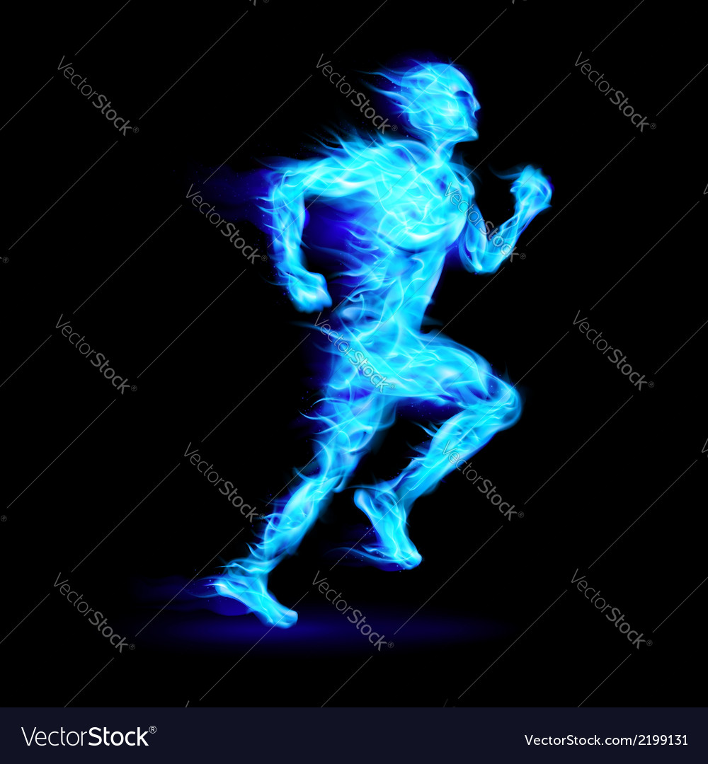 Blue fiery running man vector | Price: 1 Credit (USD $1)