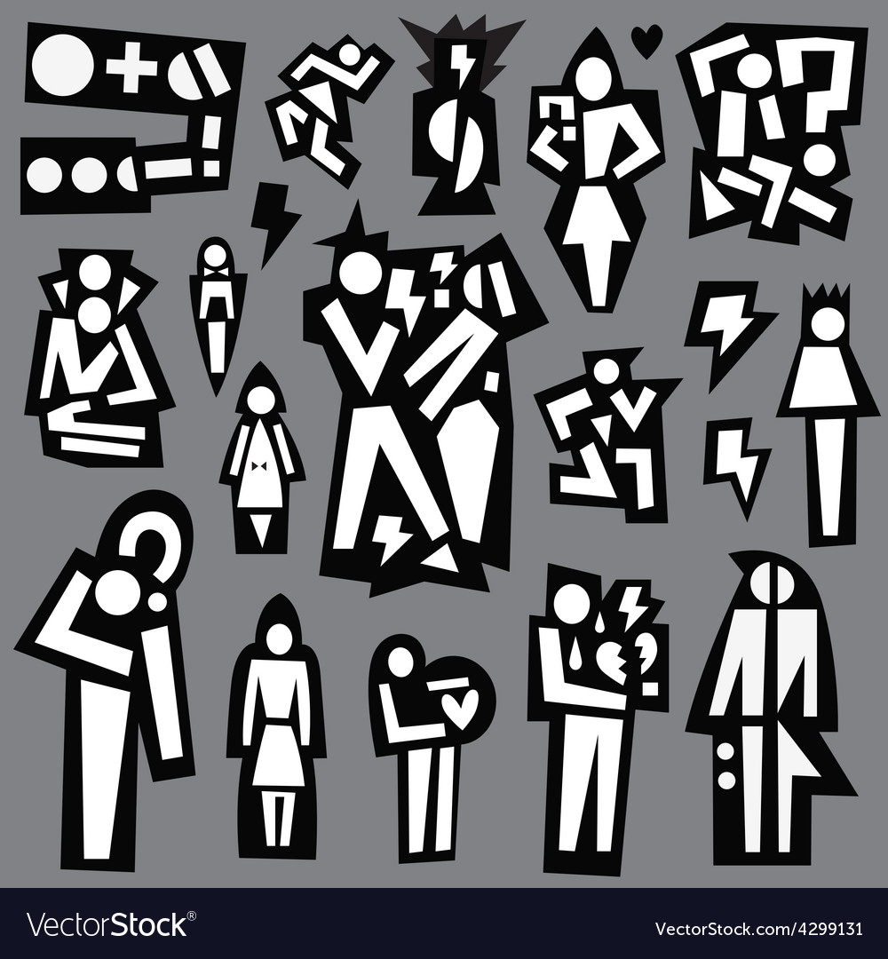 Conflict  man and woman - icons set vector | Price: 1 Credit (USD $1)