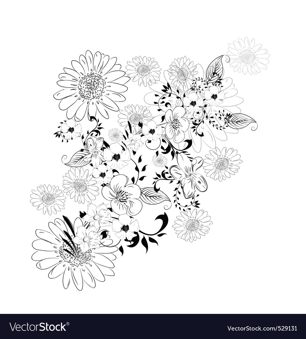 Floral sketch vector | Price: 1 Credit (USD $1)