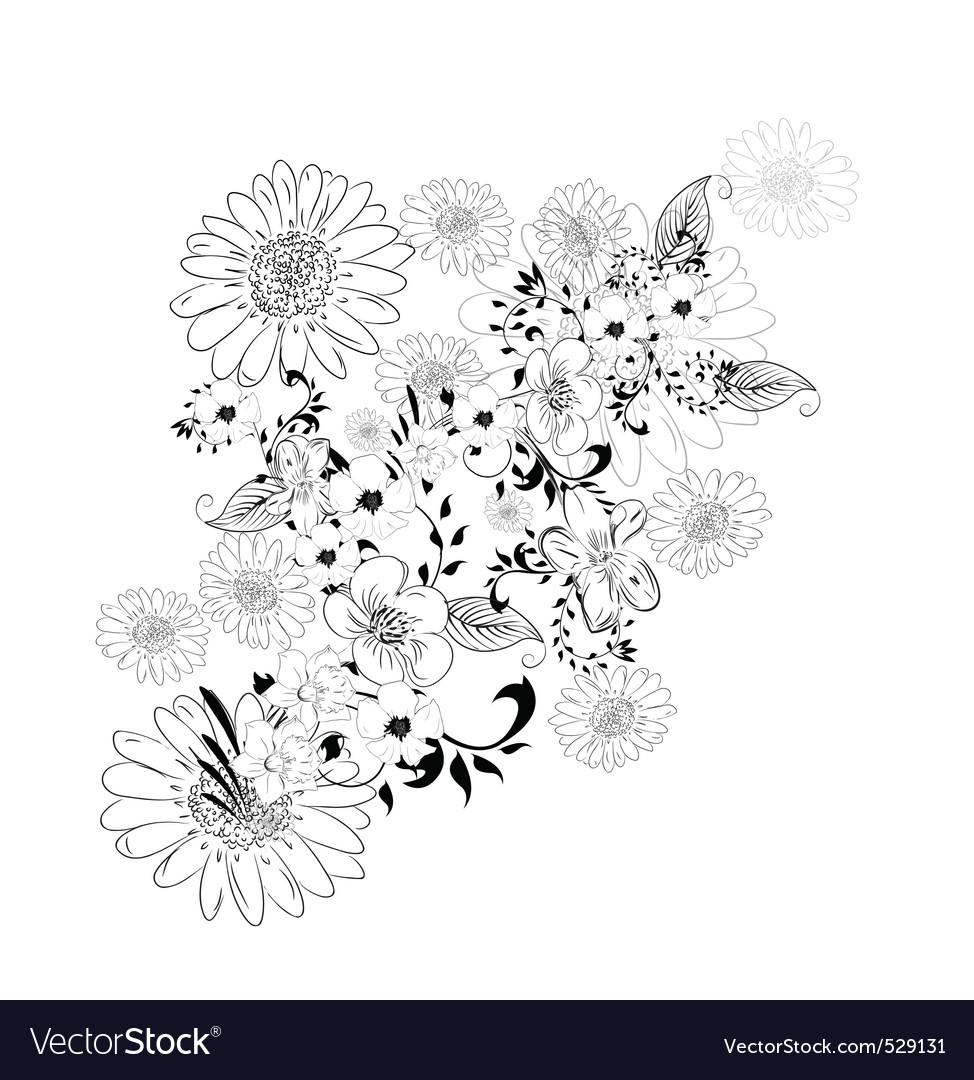 Floral sketch vector | Price: 1 Credit (USD $1)