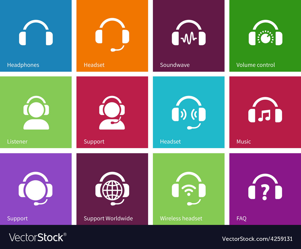 Headphones icons on color background vector | Price: 1 Credit (USD $1)