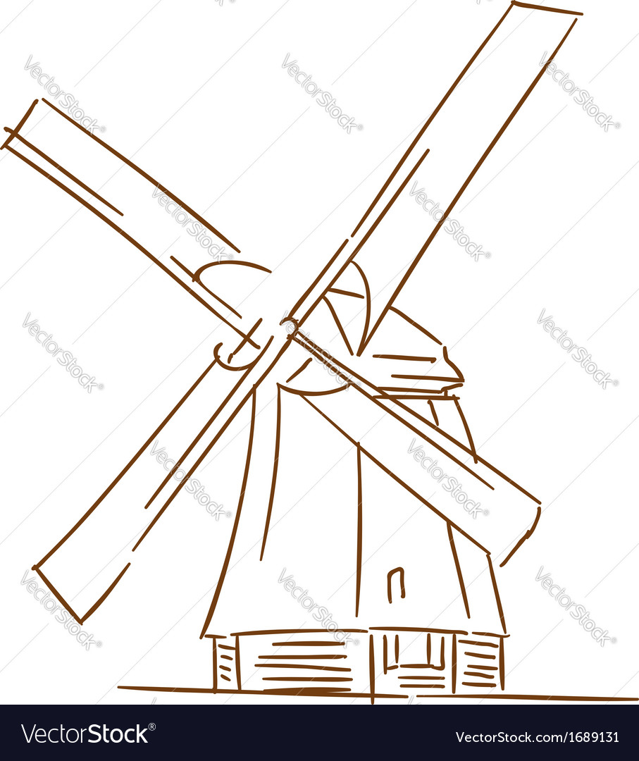 Old windmill vector | Price: 1 Credit (USD $1)