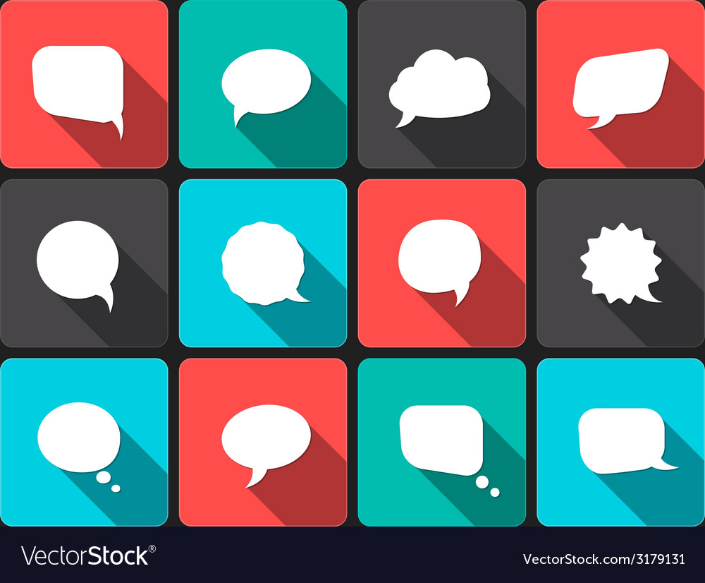 Speech bubbles with long shadow in flat design vector | Price: 1 Credit (USD $1)
