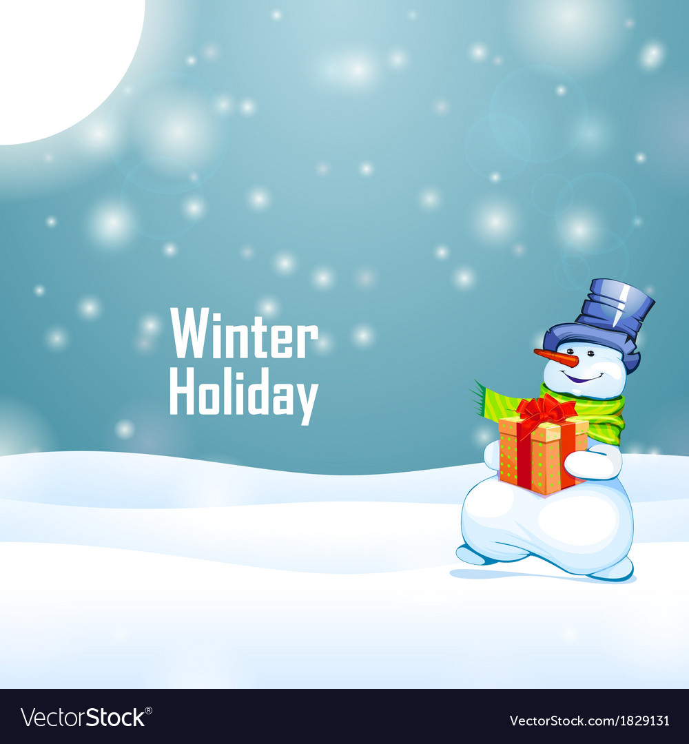 Sunny winter holiday and snowman with gift on snow vector | Price: 1 Credit (USD $1)