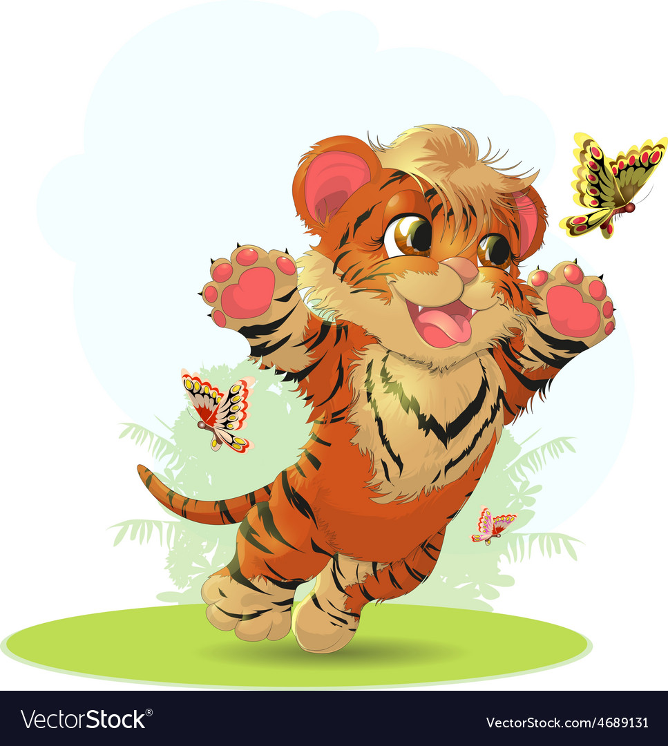 Tiger and butterfly vector | Price: 3 Credit (USD $3)