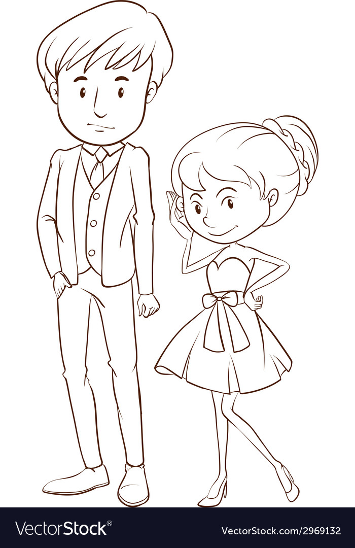 A simple sketch of a couple in formal attire vector | Price: 1 Credit (USD $1)