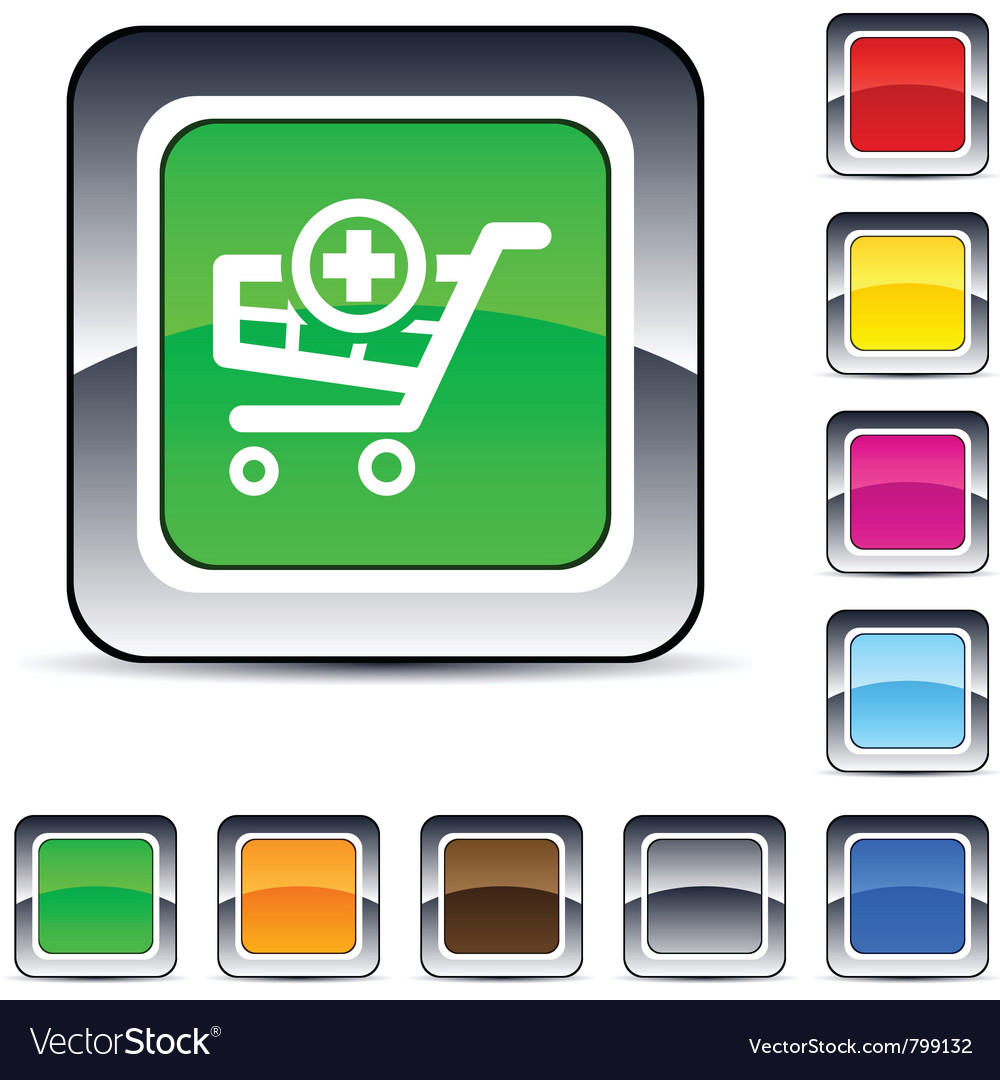 Add to cart square button vector | Price: 1 Credit (USD $1)