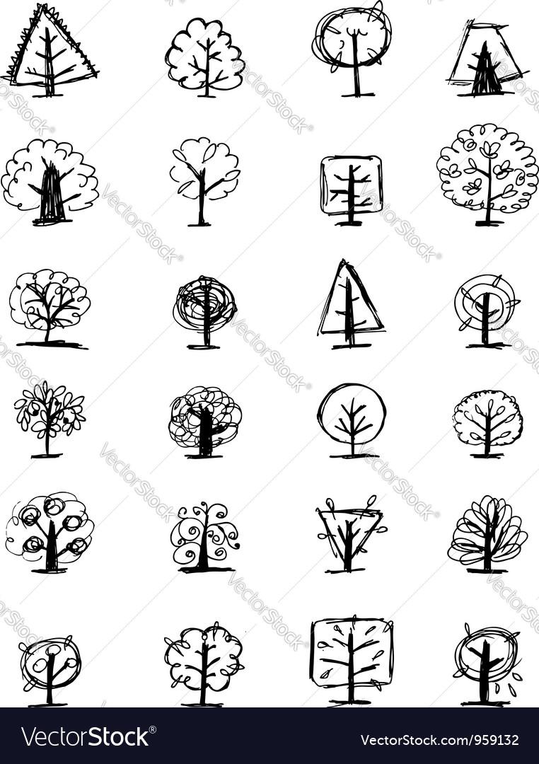 Art tree sketch set1 vector   Price: 1 Credit (USD $1)
