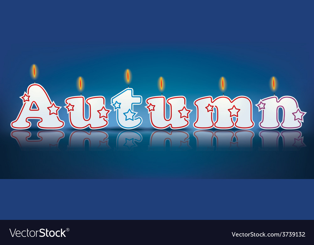 Autumn written with burning candles vector | Price: 1 Credit (USD $1)