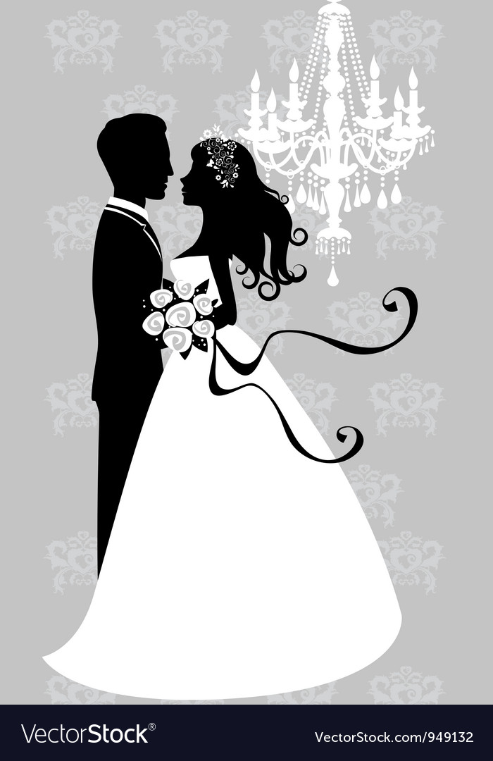 Bride and groom embracing vector