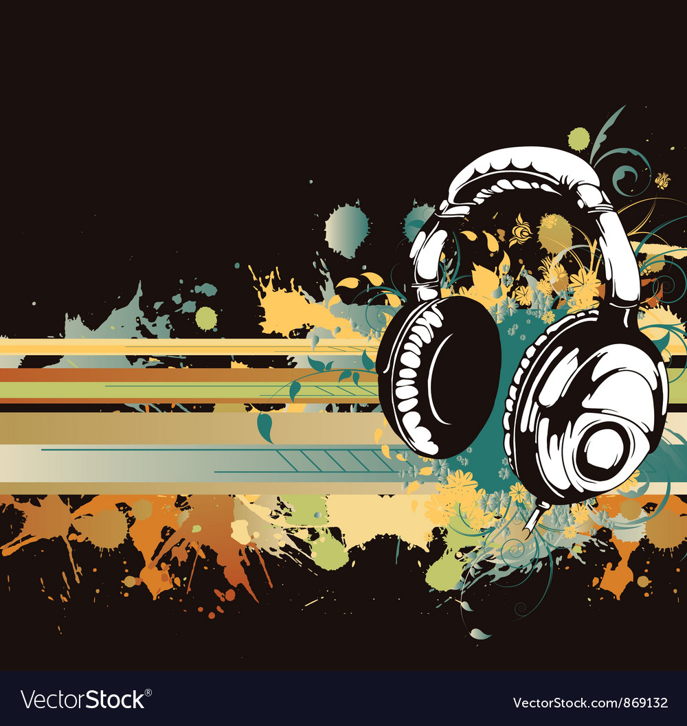Headphones with floral vector | Price: 1 Credit (USD $1)