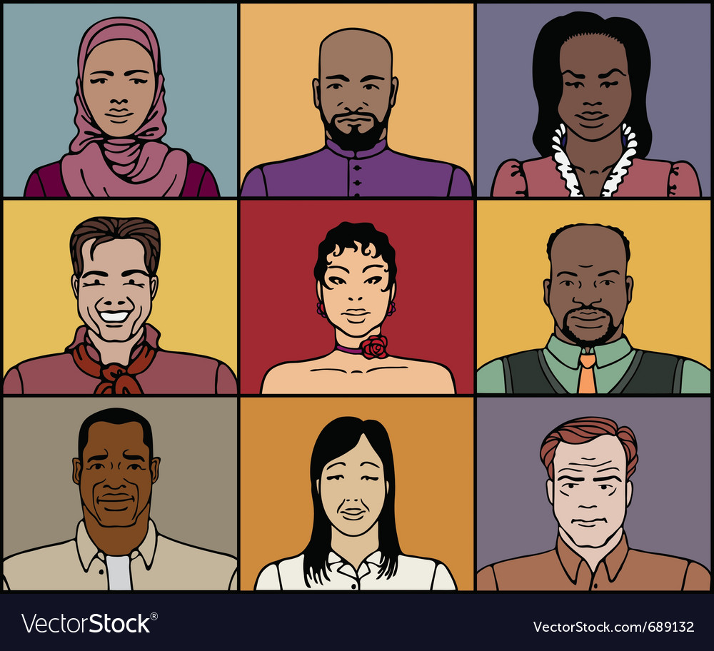 Middle aged faces vector | Price: 1 Credit (USD $1)