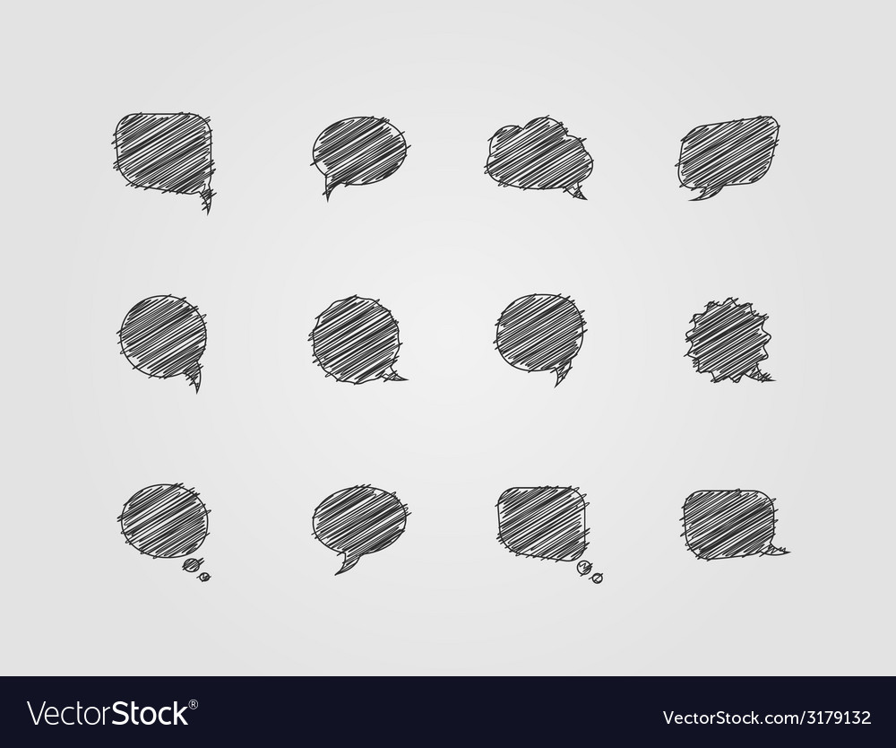 Speech doddle scribble bubbles vector | Price: 1 Credit (USD $1)