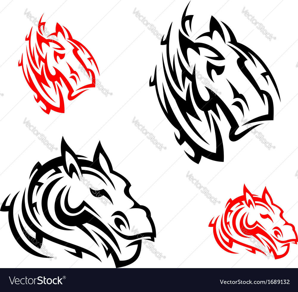 Tribal horses tattoos vector | Price: 1 Credit (USD $1)