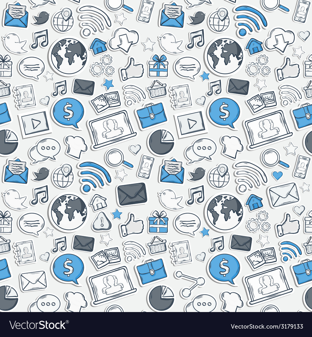 Blue sticker mobile apps pattern vector | Price: 1 Credit (USD $1)