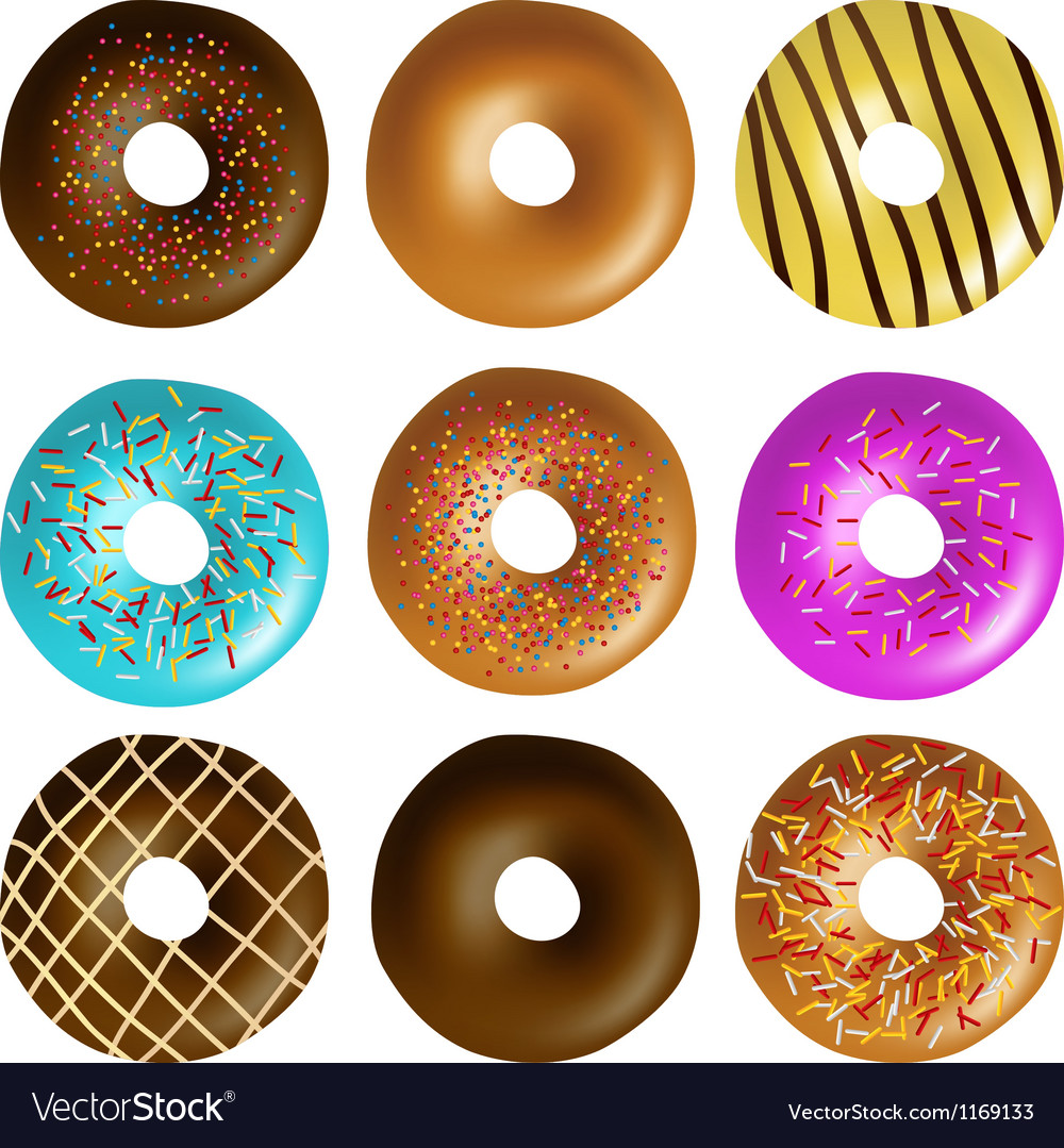 Donut set vector | Price: 1 Credit (USD $1)