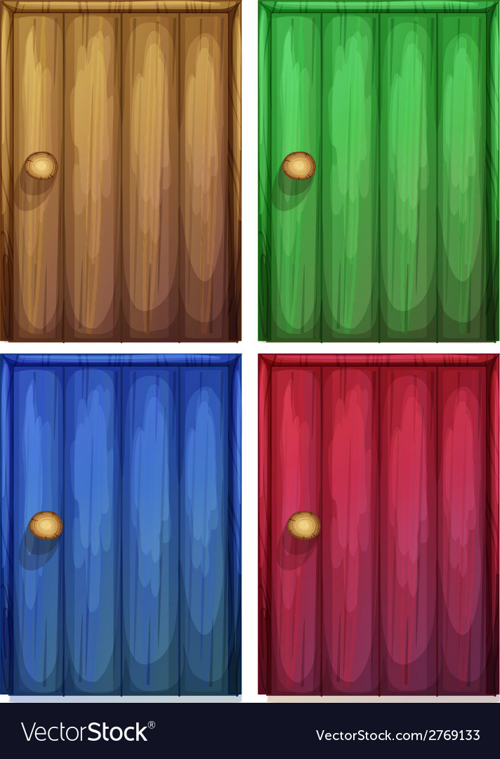 Four colourful doors vector | Price: 1 Credit (USD $1)