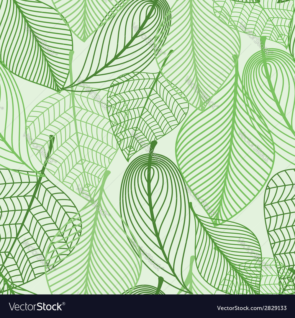 Green leaves seamless pattern background vector | Price: 1 Credit (USD $1)