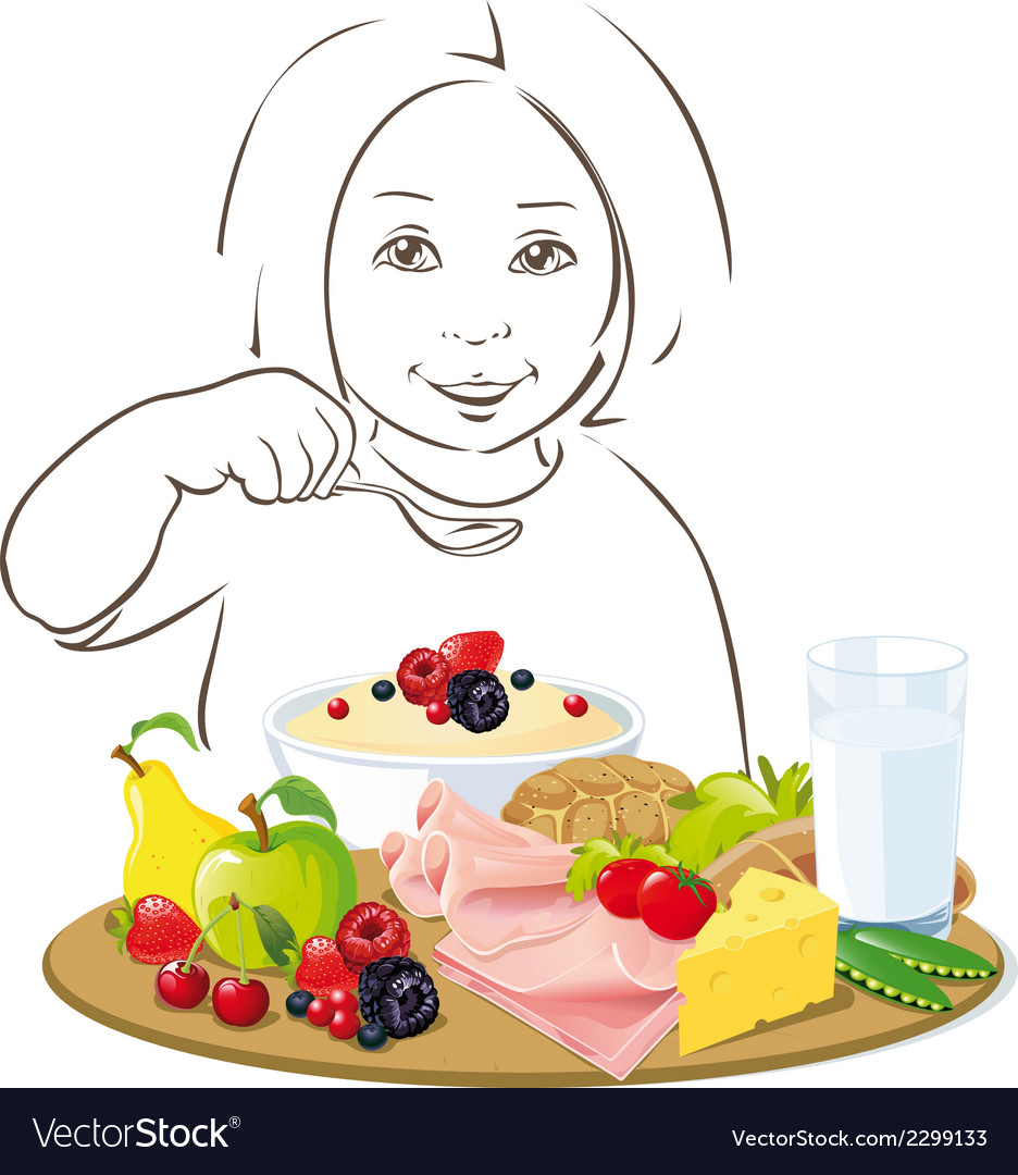 Healthy eating child - vector | Price: 1 Credit (USD $1)