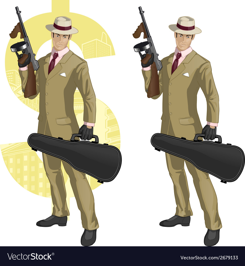 Hispanic mafioso with tommy-gun cartoon vector | Price: 1 Credit (USD $1)