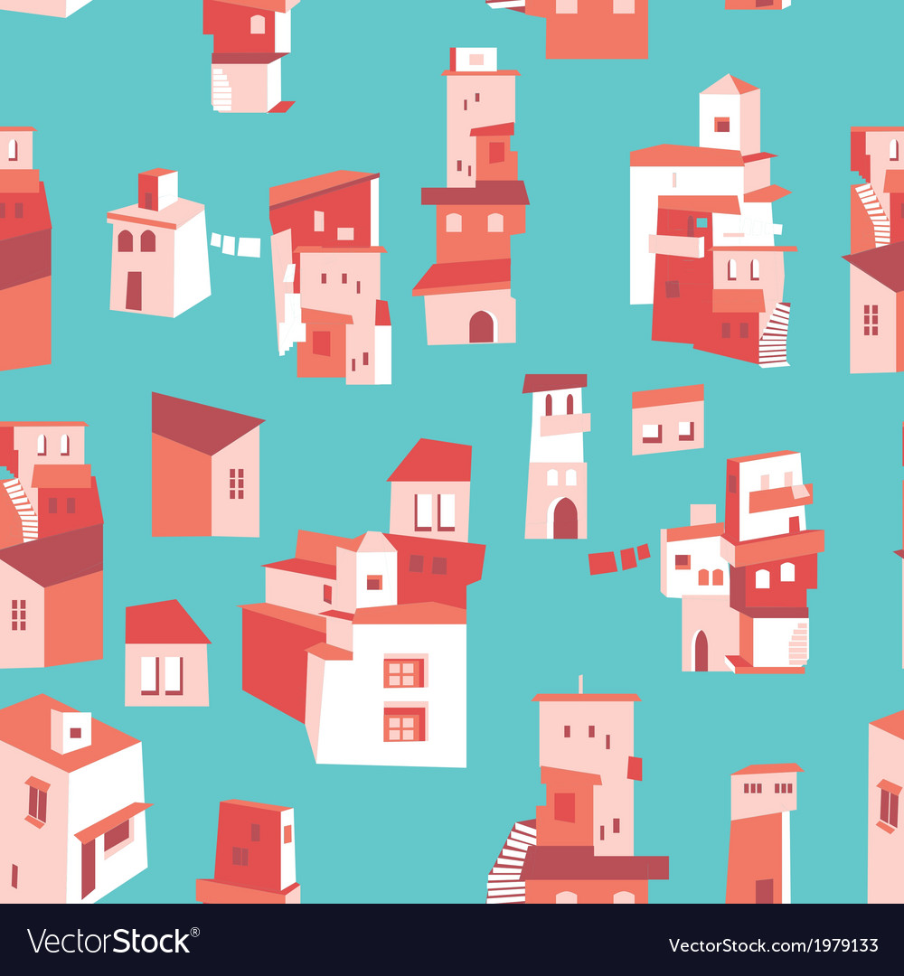 House set asian city pattern vector | Price: 1 Credit (USD $1)