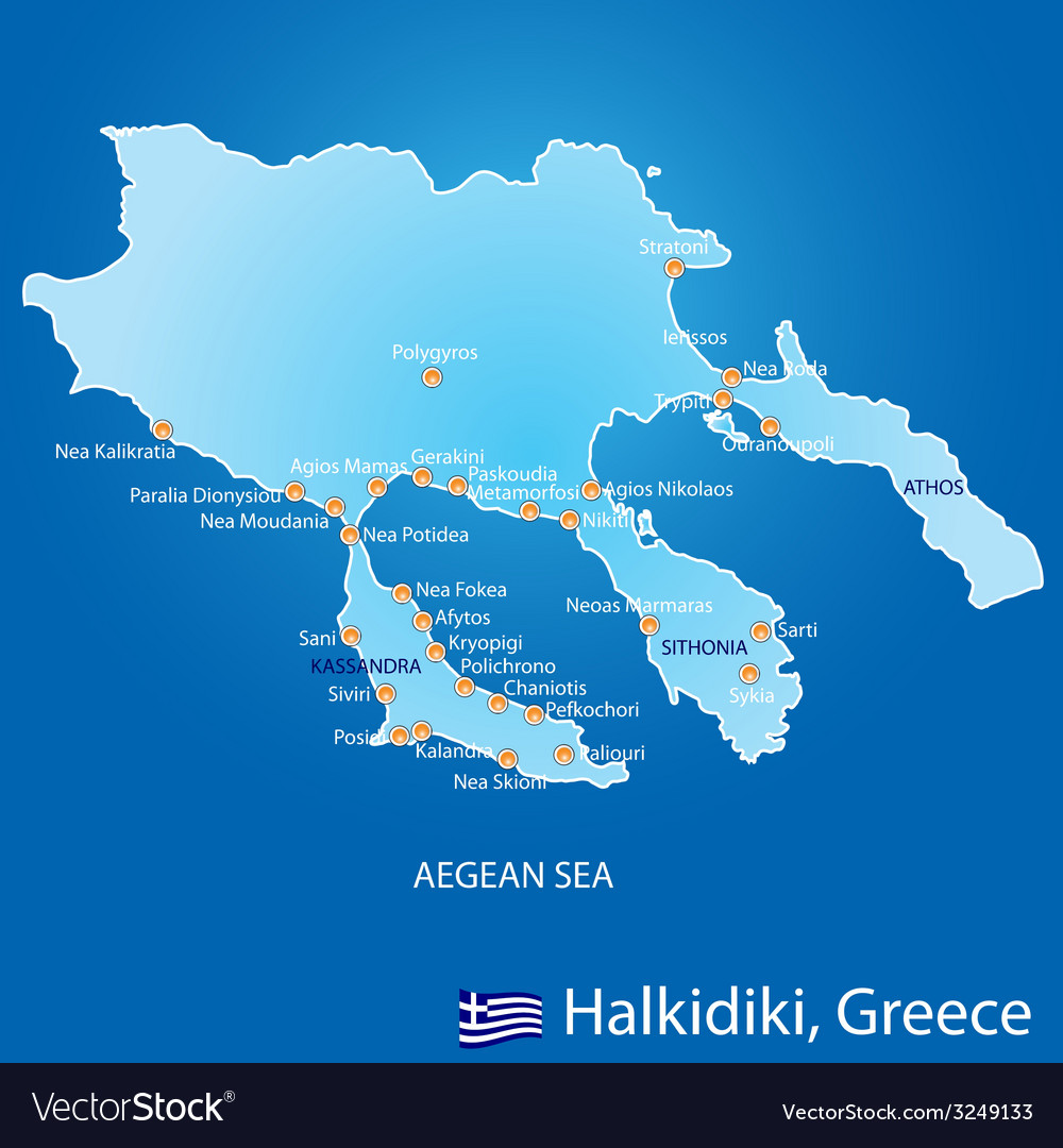 Peninsula of halkidiki in greece map vector | Price: 1 Credit (USD $1)